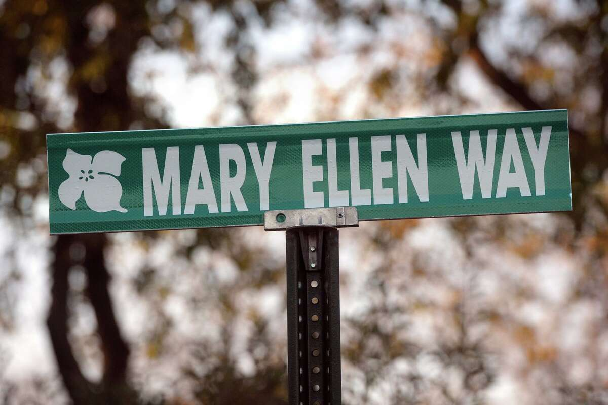 Mary Ellen Way, named in honor of late principal Mary Ellen Bolton, in front of Jane Ryan Elementary School, in Trumbull, Conn. on Nov. 6, 2020.