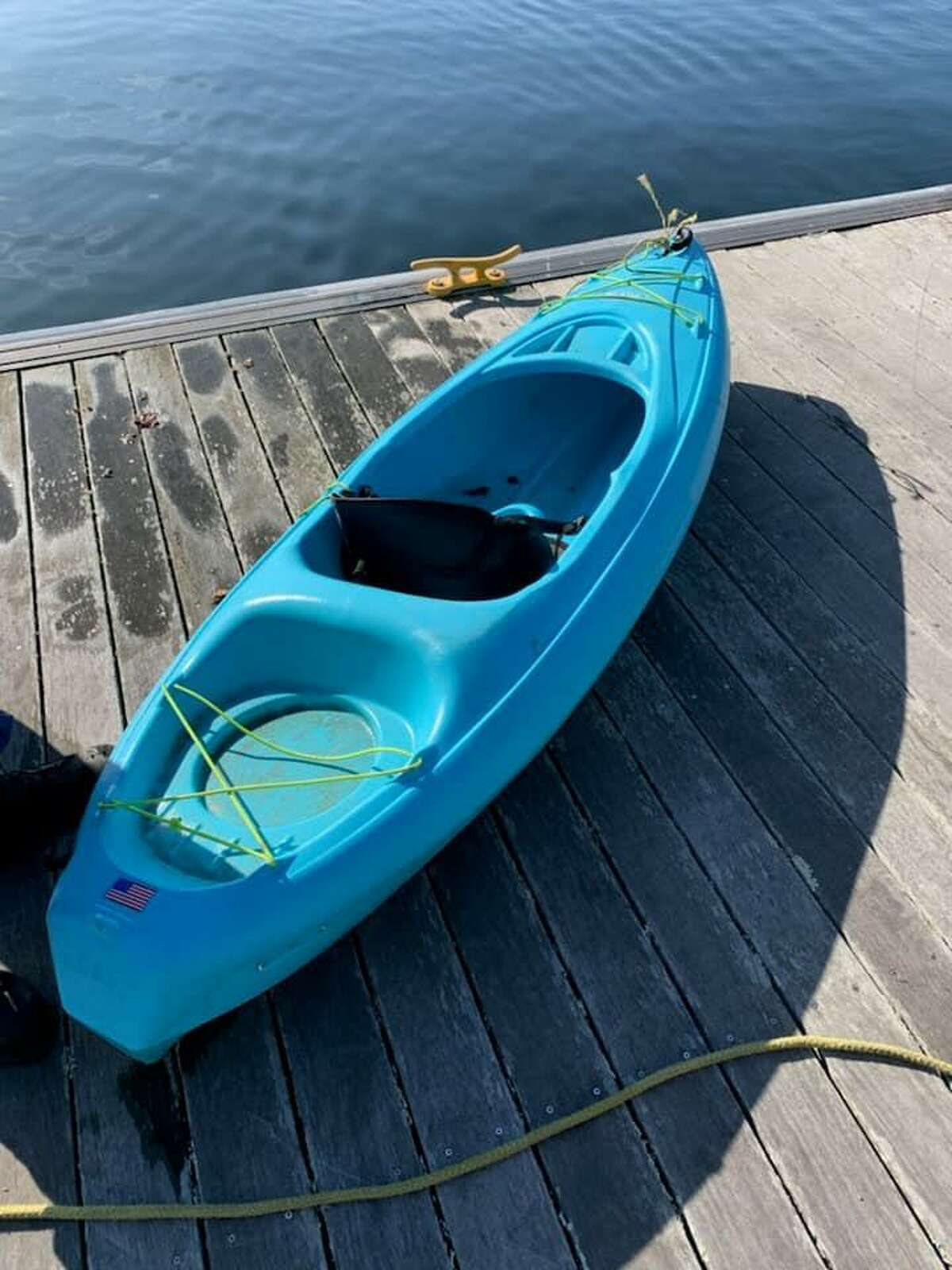 The kayak found unoccupied at the Fort Trumbull State Park fishing pier in New London, Conn. on Sunday, Nov. 8, 2020.