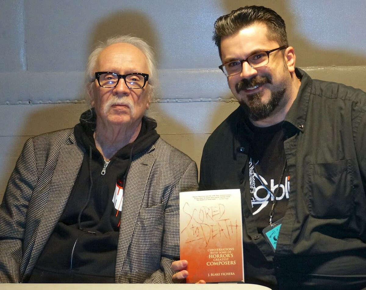 From right, J. Blake Fichera and 'Halloween' movie score composer John Carpenter.
