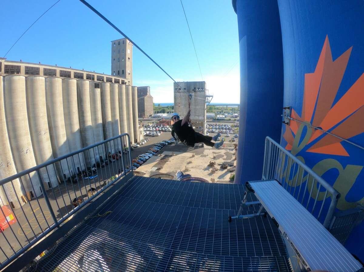 Ziplining at the Buffalo RiverWorks.