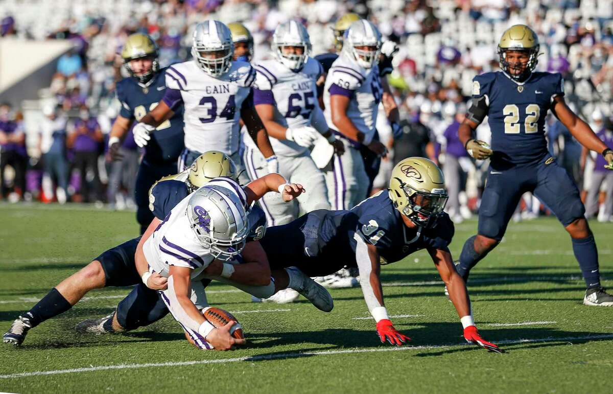 Klein Cain Hurricanes Carson Roper (11) is tackled at the goal line, that was not ruled a touchdown, during the second half of a high school football game Saturday, Nov. 7, 2020, at Klein Memorial Stadium in Spring.