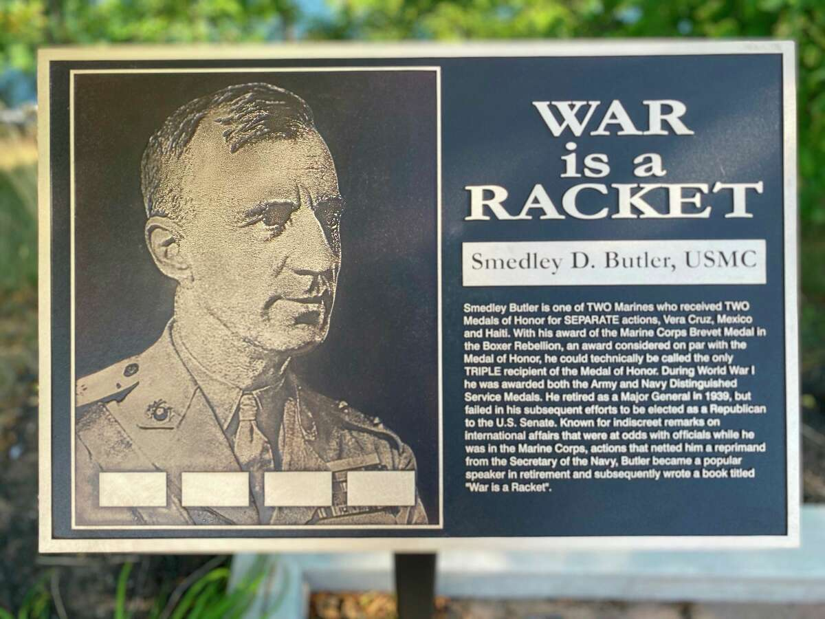 A plaque honoring Gen. Smedley Butler was placed in the Veterans Memorial Park Manistee by theUnited Veterans Council of Manistee County. (Courtesy photo)