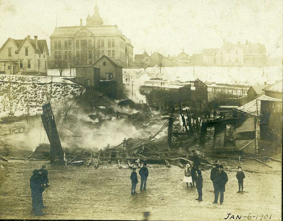 Fire not only destroyed the home and business of Henry Rademaker but also claimed the life of Christian Edwardson on the morning of Jan. 6, 1901. Photo: Manistee County Historical Museum Photo