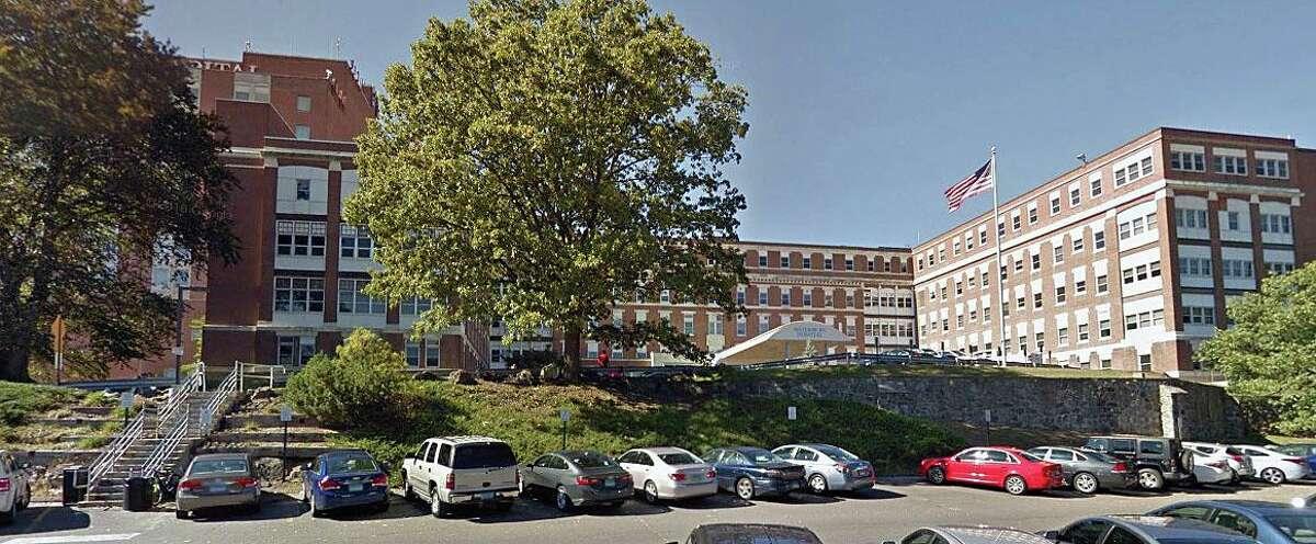 A Google Streetview screenshot of Waterbury Hospital in Waterbury, Conn.