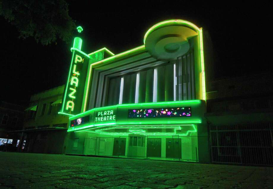 The Plaza Theater shines bright after missing and broken neon lights are replaced, June 14, 2019, in downtown Laredo. Photo: Danny Zaragoza /Laredo Morning Times File / Laredo Morning Times