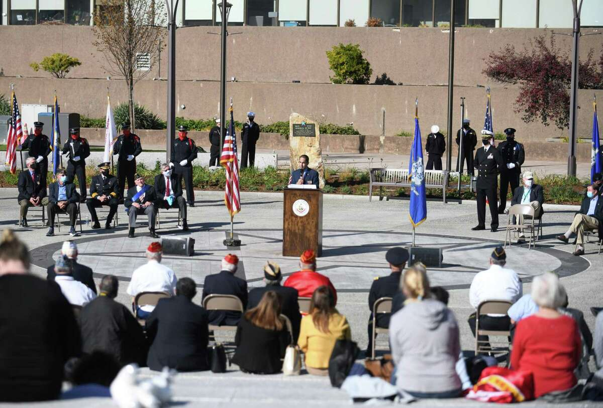 Connecticut Commissioner of Veterans Affairs Thomas Saadi speaks at the Veterans Day ceremony at Veterans Park in Stamford on Sunday