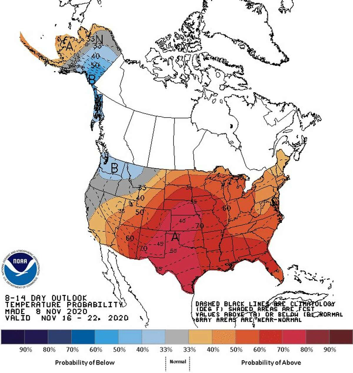 The weather forecast office for the Austin-San Antonio region shared an 8-14-day outlook for temperature and rain probability on Monday. The temperature map shows a probability of 65 percent above normal temperatures. The rain chances are 50 to 60 percent below normal according to the map.