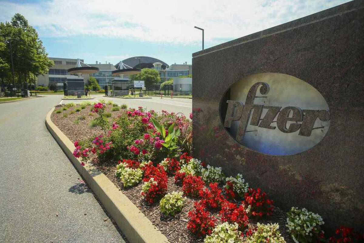 The Pfizer Research & Development Laboratories, as seen Wednesday, July 22, 2020, in Groton, CT. (AP Photo/Stew Milne)