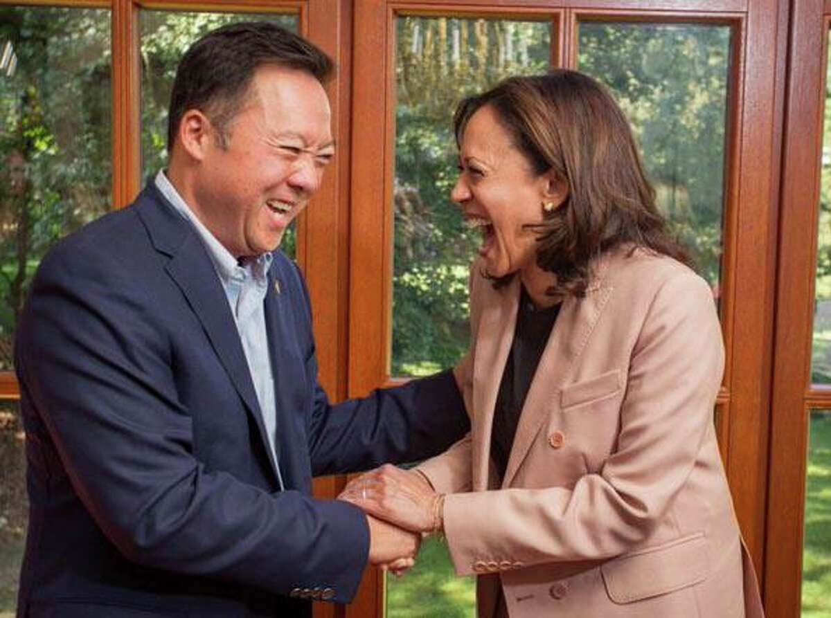 Connecticut Attorney General William Tong and Vice President-elect Kamala Harris share a laugh during a fundraiser for Harris in Greenwich in September 2019, when she was campaigning for president. Harris served from 2011 to 2017 as California attorney general.
