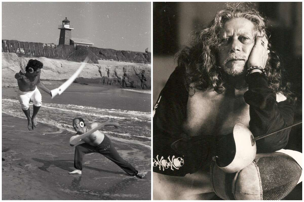 Michael D'Asaro fencing on the beach, and posing for a portrait in Los Angeles in the 1990s.