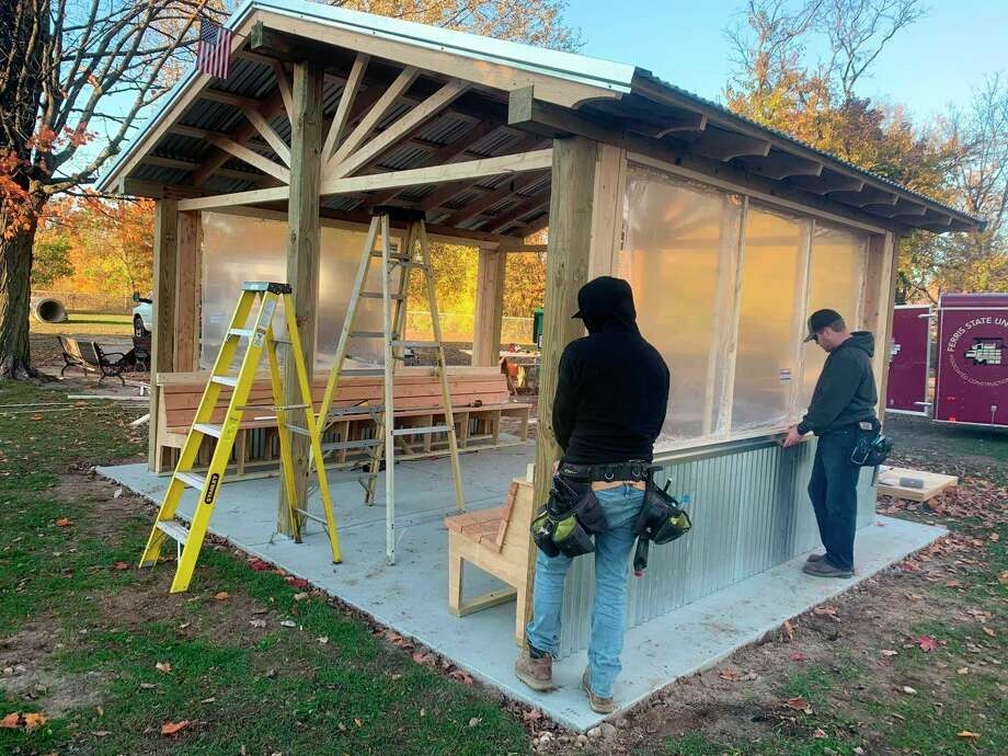 Ferris construction management students spent two weekends in October completing a structure at Brutus Dog Park. The structure will hold several people and their pets, and will provide shelter during cold weather. (Courtesy photo)