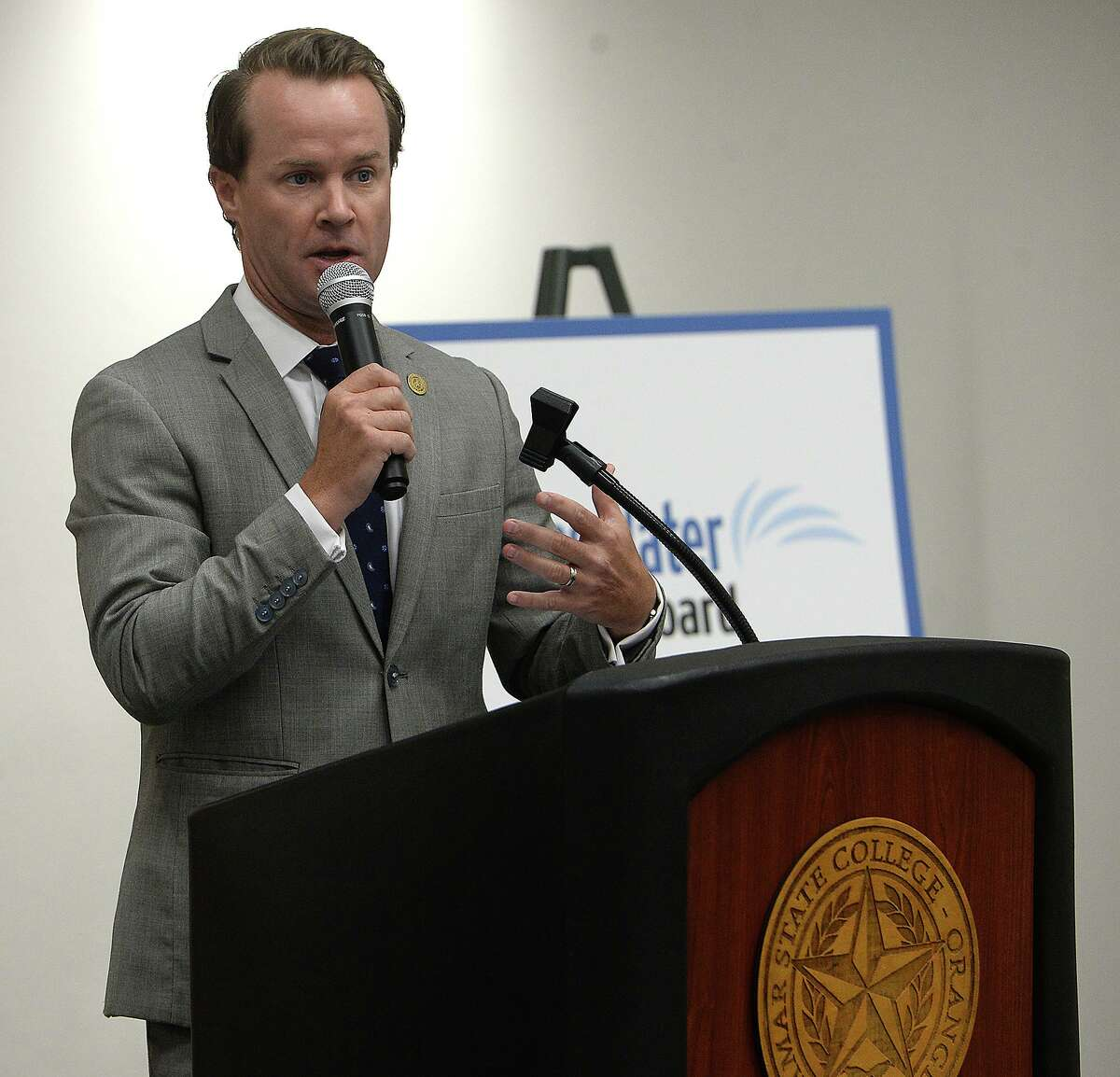Representative Dade Phelan offers comments during a community workshop on flood planning hosted by the Texas Water Development Board Tuesday at Lamar State College Orange. Photo taken Tuesday, August 6, 2019 Kim Brent/The Enterprise