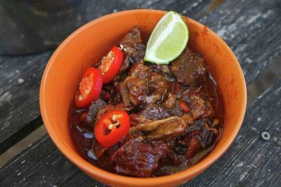A bowl Texas Beef Chuck Roast Chili