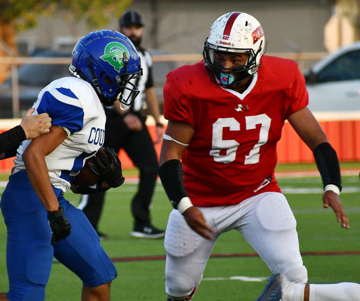 Lockney's Miguel Lara prepares to tackle a Compass Academy ball carrier during their non-district football game on Sept. 25, 2020 in Lockney.
