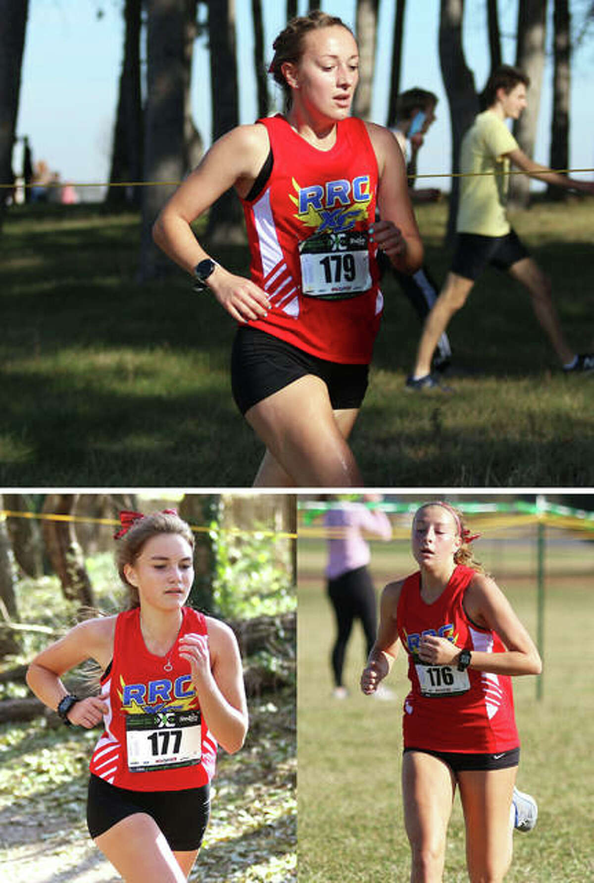 Roxana seniors Janelynn Wirth (top), Keiko Palen (bottom left) and Macie Lucas run during the ShaZam Racing 2020 High School XC Championships at Three Sisters Park on Friday in Chillicothe.
