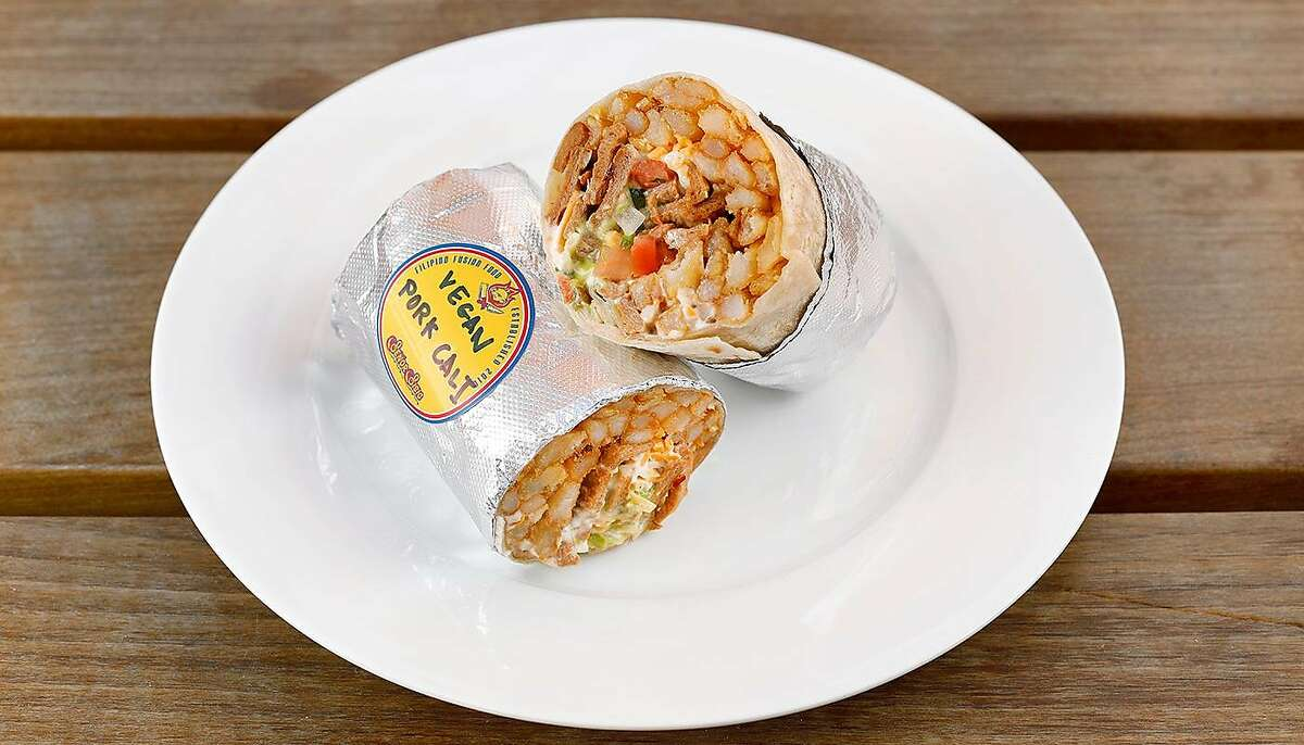 The vegan California Sisig Burrito at Señor Sisig Vegano in San Francisco. The meat in the burrito is soy-based and will also be sold in Oakland.