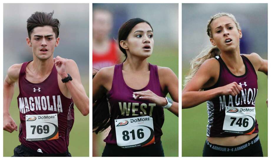 From left: Dylan Sequeira (Magnolia), Catherine Benevidez (Magnolia West) and Emma Ellis (Magnolia) are headed to the UIL state meet. Photo: Jason Fochtman
