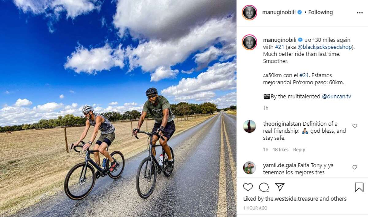San Antonio Spurs legend Manu Ginobili continues to share photos of him and Tim Duncan biking together, and fans are loving it.