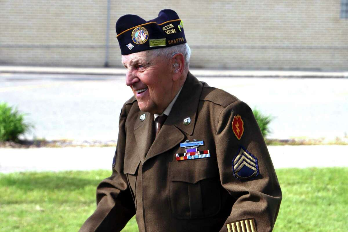 """William """"Buck"""" Deming smiles before the Memorial Day ceremony in Sebewaing earlier this year. (Scott Nunn/Tribune File Photo)"""