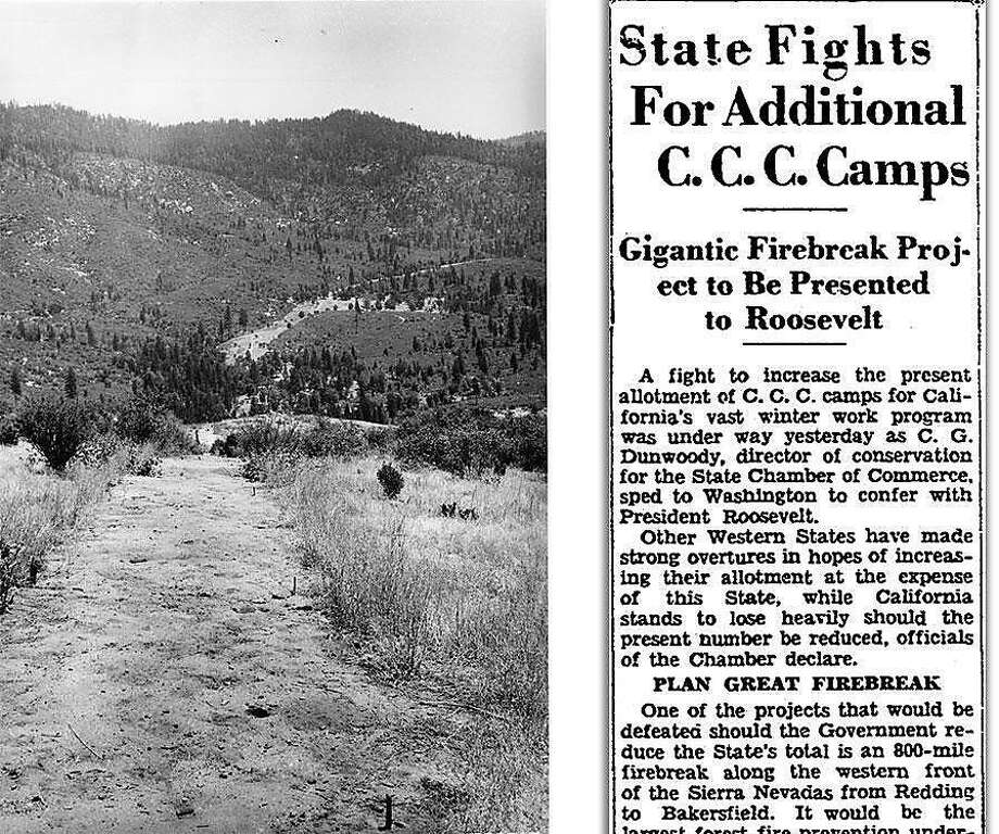 Left: A historic photo of a section of the 800-mile Ponderosa Way firebreak as it was being constructed in the 1930s. Right: A 1933 article in The San Francisco Chronicle. Photo: Photo Courtesy Stephen Pyne. Article From Chronicle Archive.