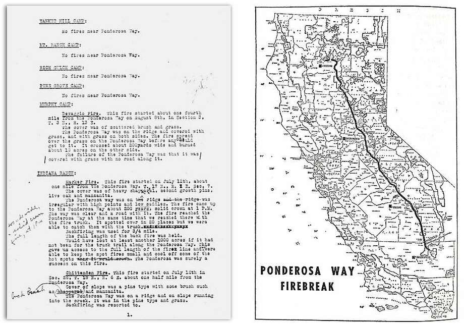 Left: A 1934 letter from an assistant fire chief to the U.S. Forest Service detailing how the Ponderosa Way firebreak fared during that fire season. Right: A historic map of the Ponderosa Way firebreak. Photo: California State Archives