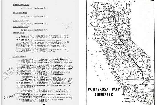 Left: A 1934 letter from an assistant fire chief to the U.S. Forest Service detailing how the Ponderosa Way firebreak fared during that fire season. Right: A historic map of the Ponderosa Way firebreak.