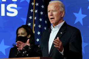 Democratic presidential nominee Joe Biden speaks while flanked by vice presidential nominee, Sen. Kamala Harris (D-CA), in Wilmington, Del. on Thursday. Analysts expect him to bolster the Affordable Care Act and launch a coordinated federal response to the coronavirus pandemic.