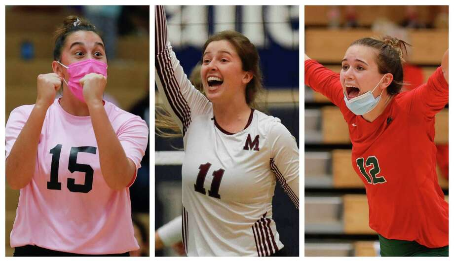 From left: Senior setters Piper Boydstun (Oak Ridge), Faith Lynch (Magnolia) and Clara Brower (The Woodlands) were named to the AVCA All-Region 4 Team on Monday. Photo: Staff File Photos