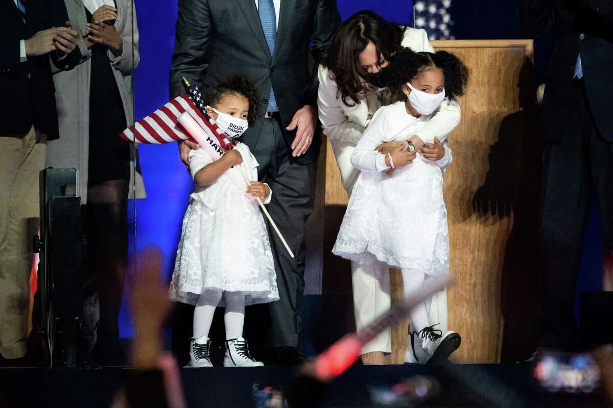 Vice President-elect Kamala Harris is joined onstage by her nieces.
