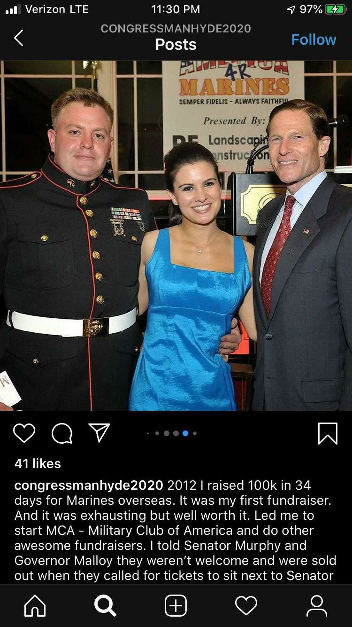Robert Hyde (left) poses in a photo with U.S. Sen. Richard Blumenthal, D-Conn., (right) at a fundraiser for U.S. Marines Hyde organized in 2012. Hyde shared this image on his 2020 campaign Instagram.