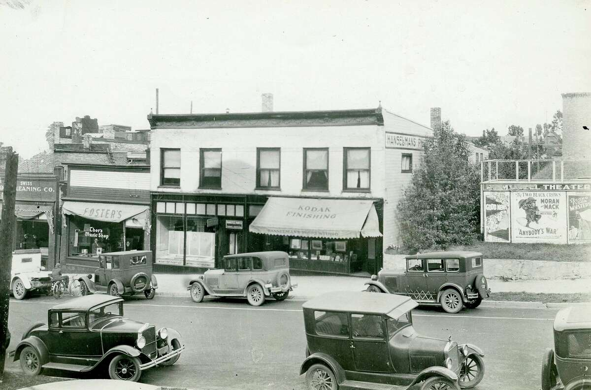 This photo shows a view looking east on Maple Street in 1930. (Manistee County Historical Museum photo)