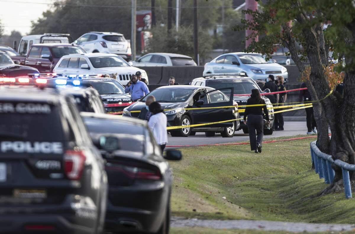 Scene where a Houston police sergeant was fatally shot at 7766 North Freeway, Monday, Nov. 9, 2020, in Houston.