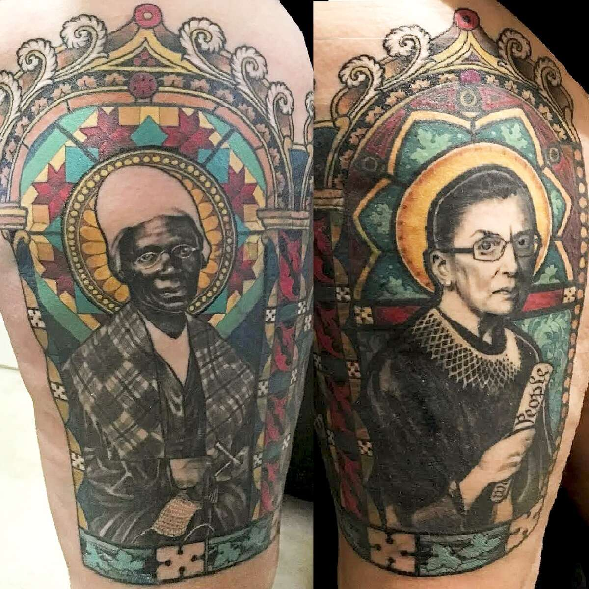 Portraits in tribute to Sojourner Truth and Ruth Bader Ginsburg were recently tattooed on Tanya Wischerath's clients.