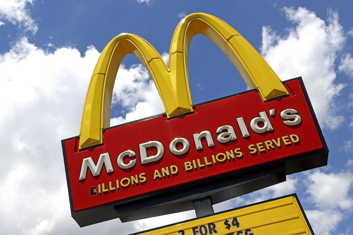 This June 25, 2019, file photo shows a sign outside a McDonald's.