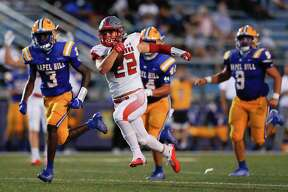 Splendora running back Zane Obregon (22) runs for a 43-yard touchdown during the second quarter of a non-district high school football game against Tyler Chapel Hill at Bulldog Stadium, Friday, Aug. 28, 2020, in Tyler.