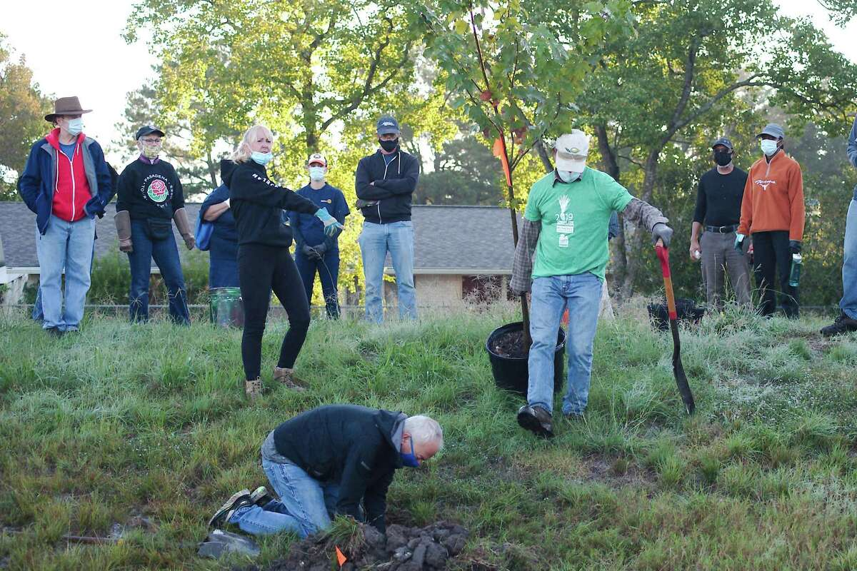 Lisa Martinez, Allen Brown and Chatt Smith demonstrate the procedure for planting a tree.