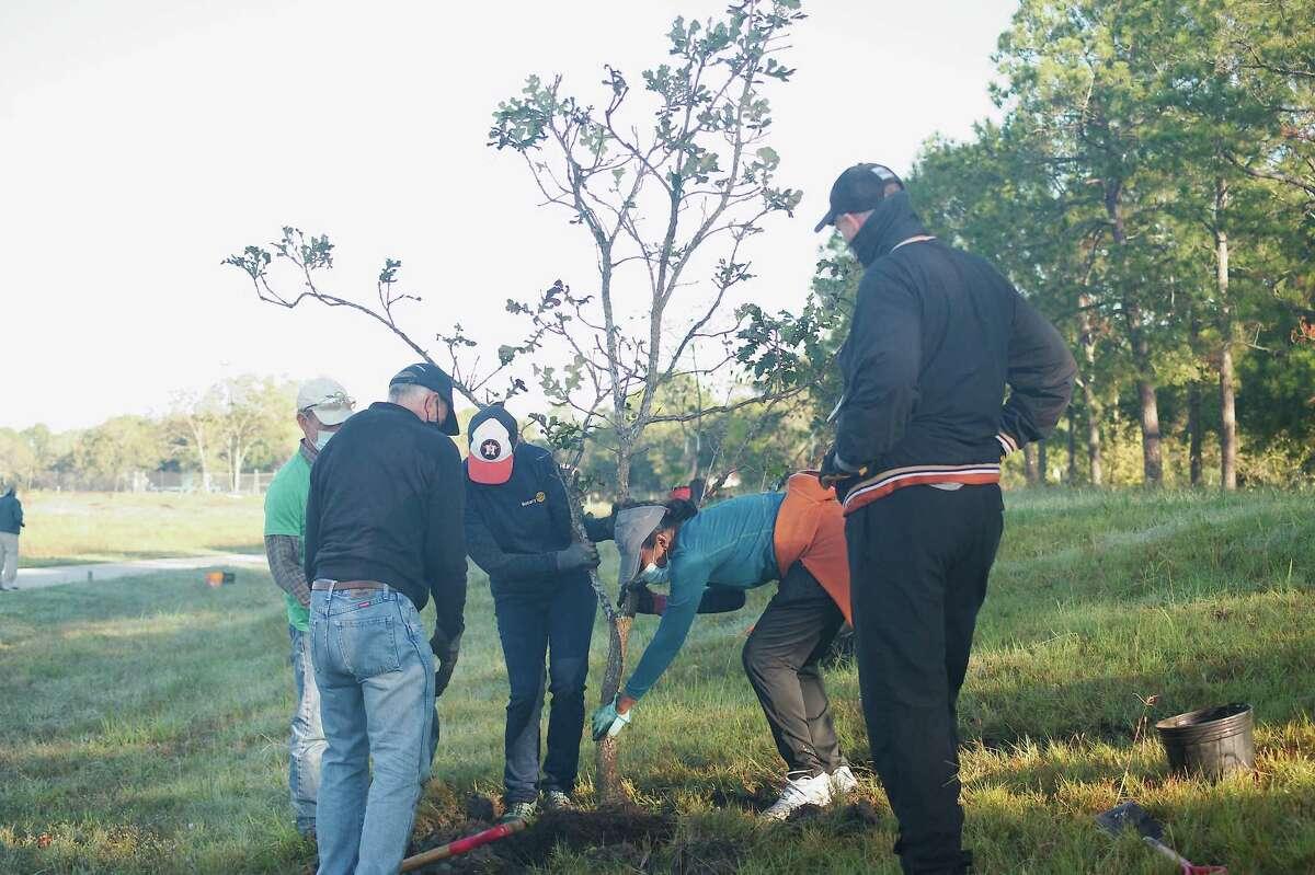 Chatt Smith, Greg Blackburn and Brian Stevens watch as Melinda Mintz and Sheela Logan plant a tree during an Exploration Green tree planting event.