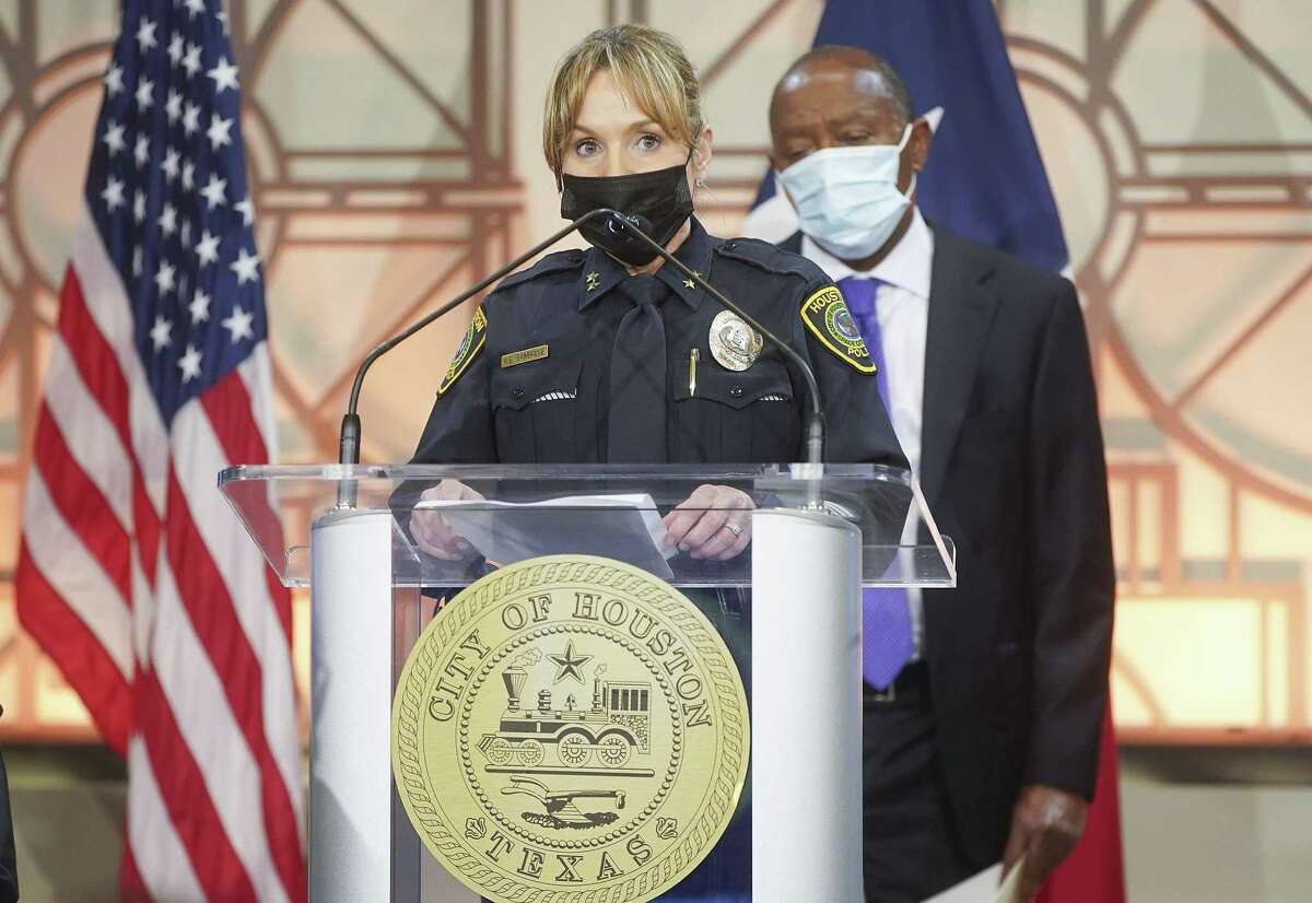 HPD Assistant Chief Wendy Baimbridge speaks during a press conference at the city hall in Houston on Monday, Nov. 9, 2020.