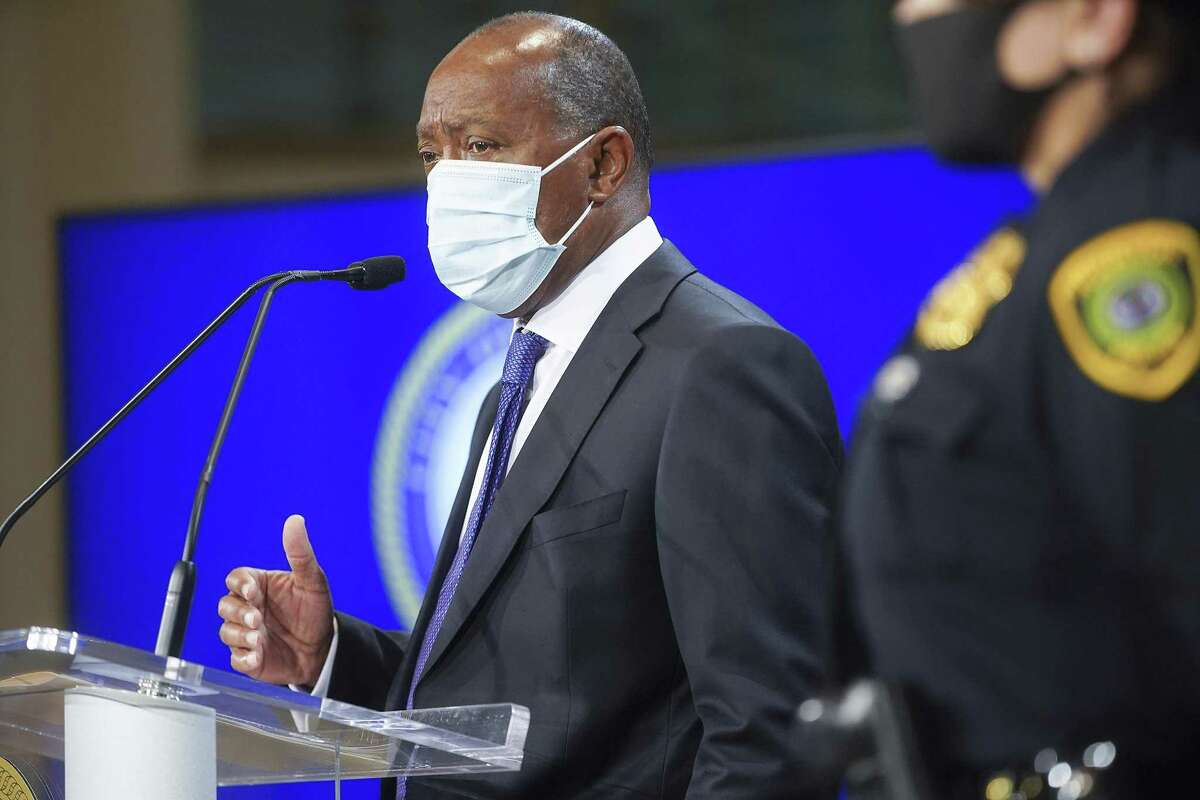 Houston Mayor Sylvester Turner speaks during a press conference at the city hall in Houston on Monday, Nov. 9, 2020.