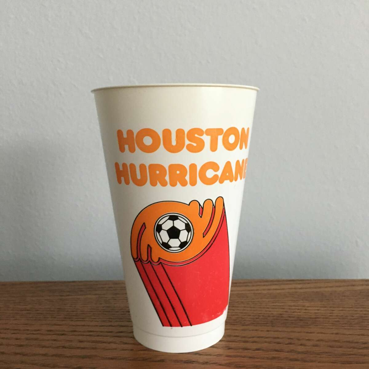 This tumbler from the 1970s bears the Houston Hurricane logo, a short-lived Houston soccer team that played from just 1978 to 1980.