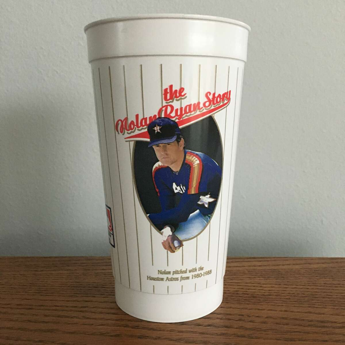 A 1980s Whataburger cup shows baseball legend Nolan Ryan. Ojeda bought a set of a dozen cups to obtain the Astros version of this design.
