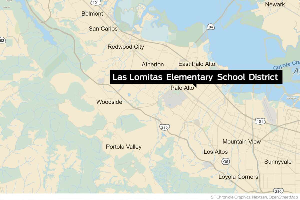 Offices for the Las Lomitas Elementary School District, where the school board president resigned following remarks his wife made online that used a vulgar sexual term in a social media post about Vice President-elect Kamala Harris.