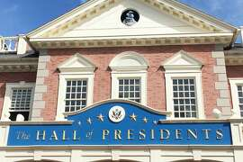 """The Hall of Presidents during the Muppets """"Great Moments in History"""" show outside the theater at Walt Disney World"""