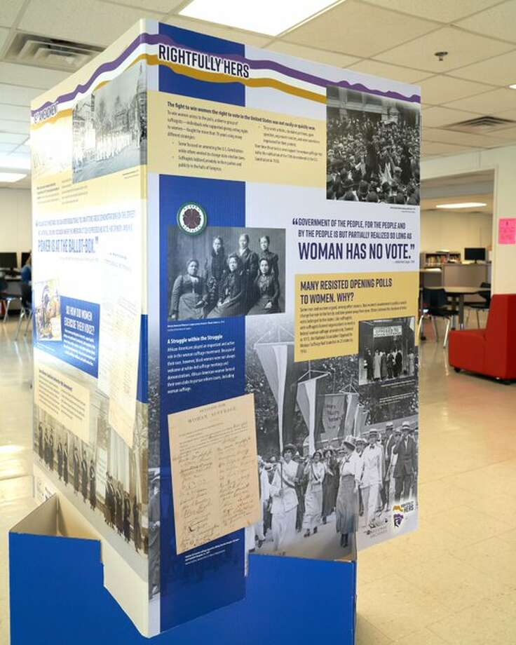 """The University of Texas Permian Basin history and art departments' have collaborated on a pop-up exhibit about women's suffrage and the 19th Amendment. """"Rightfully Hers"""" is being displayed at local schools. Photo: Courtesy Photo"""