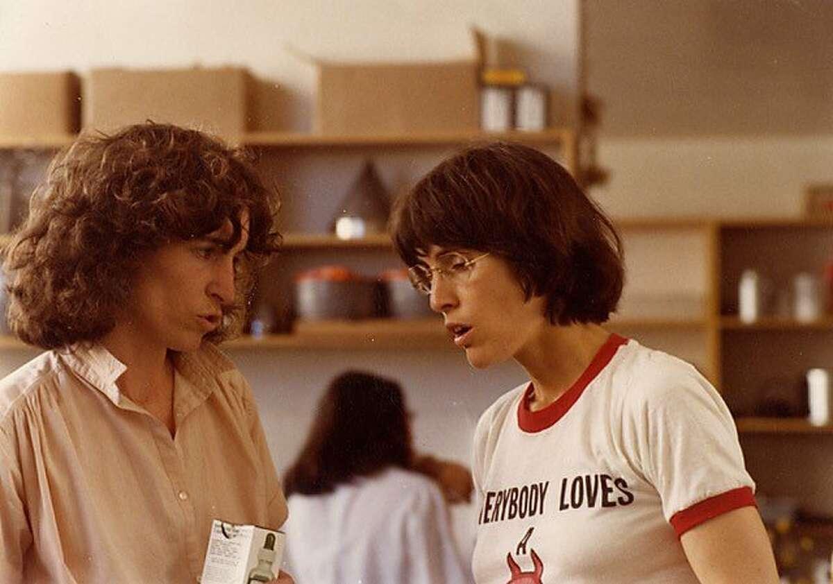 Karin Gjording and Deborah Madison (right) at Greens Restaurant in S.F.