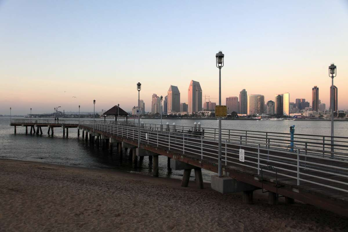 The skyline of San Diego and harbor during sunset with the Coronado Ferry Landing inCentennial Park of Coronado Island in foreground.