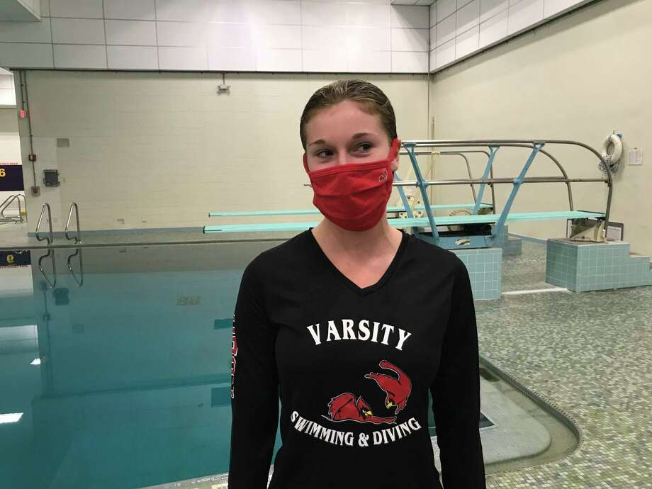 Greenwich High school junior Annie Bingle won the FCIAC West Region diving title on Monday, November 9, 2020, at Westhill High School in Stamford, Connecticut. Photo: David Fierro