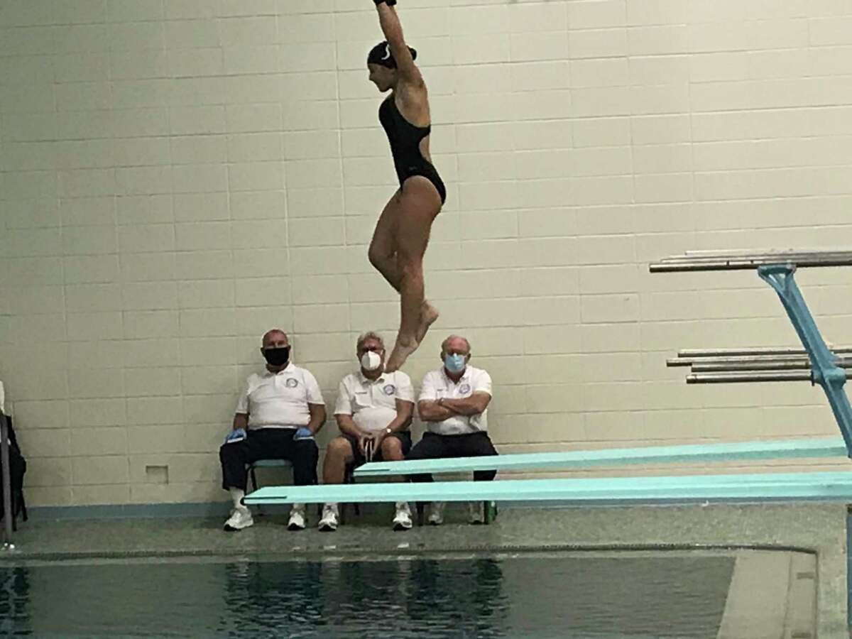 Westhill/Stamford sophomore Hannah Chuckas finished second at the FCIAC West Region diving championships on Monday, November 9, 2020, at Westhill High School in Stamford, Connecticut.