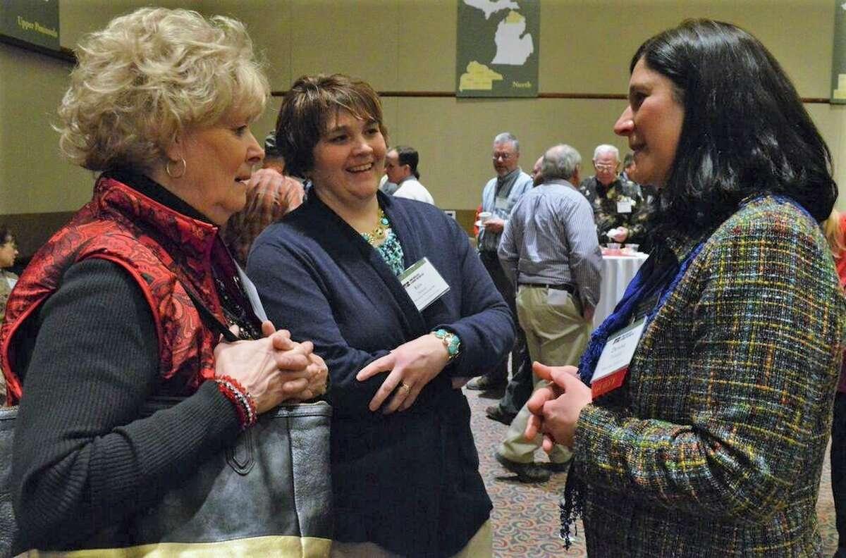 A tireless advocate for Upper Peninsula agriculture, Diane Hanson (left) is a regular presence at MFB's Lansing Legislative Seminar. (Michigan Farm Bureau/Courtesy Photo)