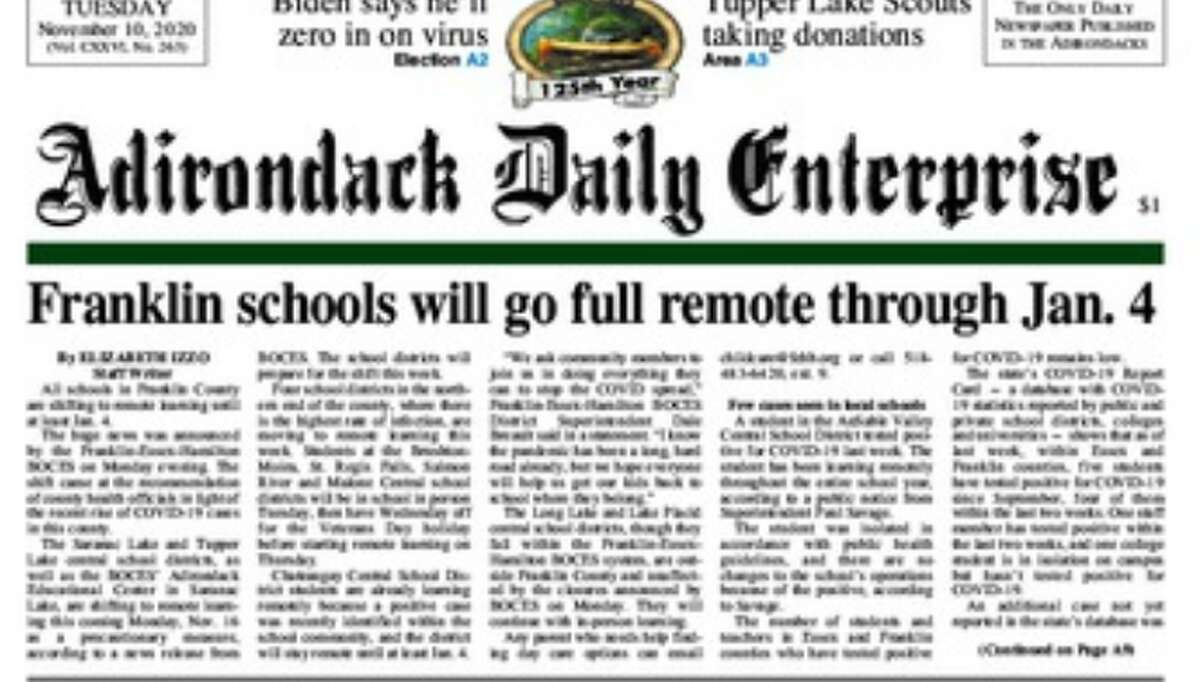 A screenshot of the front of the Adirondack Daily Enterprise on Nov. 10, 2020.